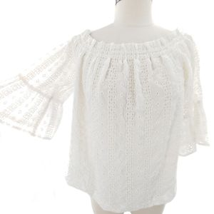 Anthro Floreat eyelet top with bell sleeves